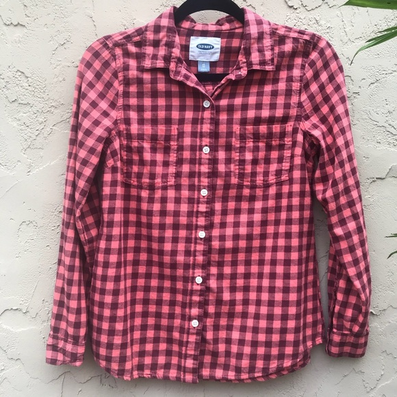 dd550d88 Old Navy Coral Plaid Flannel Shirt. M_5a81eabcf9e50154211fb84f